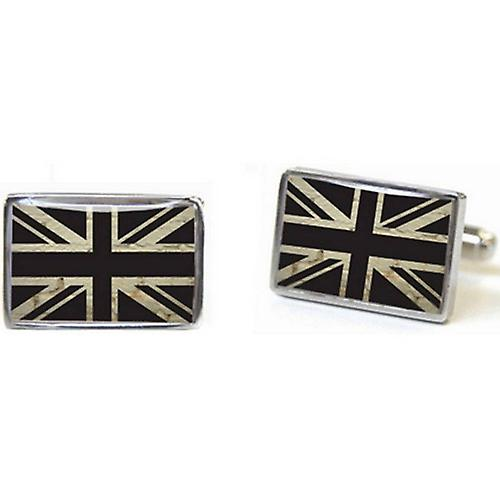 Tyler and Tyler Brick Union Jack Cufflinks - White