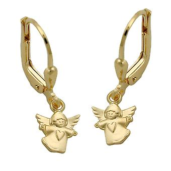 Gold hanging earrings 375 gold earrings Angels guardian angels flying angel Brisur
