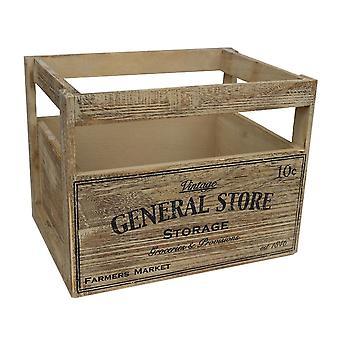 Medum Wooden Storage Baskets with General Store Printing
