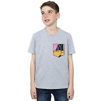 Looney Tunes Boys Daffy Duck Face Faux Pocket T-Shirt