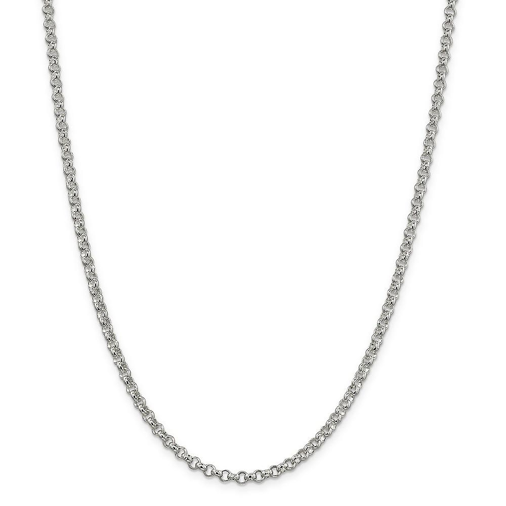 Sterling argent solide poli Lobster Claw Closure 4mm Rolo Bomb chaîne collier - Lobster Claw - longueur  16 to 36