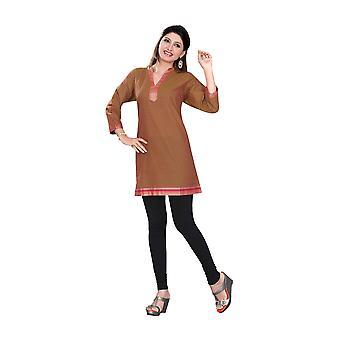 3/4 Ärmel indische Baumwolle Kurti/Tunika mit goldenen Ausschnitt braun