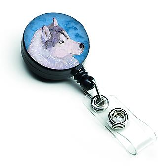 Siberian Husky versenkbare Abzeichen Reel oder ID-Halter mit Clip SS4740