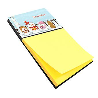 Merry Christmas Carolers Poodle Tan Sticky Note Holder