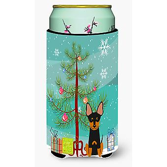 Merry Christmas Tree English Toy Terrier Tall Boy Beverage Insulator Hugger