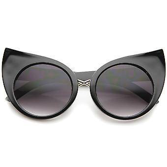 Kvinners mote overdrevet buet runde Cat Eye solbriller 51mm