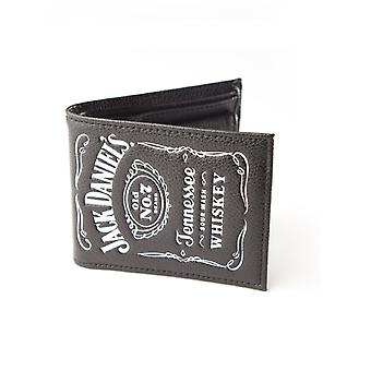 Jack Daniels Wallet Classic White Logo Official New Black Leather Bi Fold