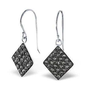 Square - 925 Sterling Silver Crystal Earrings - W18916x