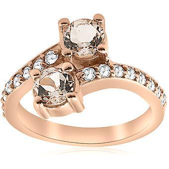 1 1 / 2ct Morganite & diamant 2-sten för evigt oss förlovningsring 14k roséguld