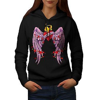 Heart Wing Love Valentine Women BlackHoodie | Wellcoda