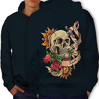 Stabbed Head Death Men NavyHoodie Back | Wellcoda