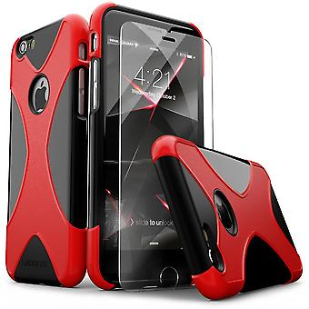 SaharaCase® iPhone 6/6s negro rojo caja, X-Case protector Kit paquete con ZeroDamage® vidrio templado