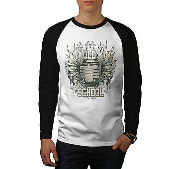 Gamle musikkskole menn hvit (svart ermene) Baseball LS t-skjorte   Wellcoda