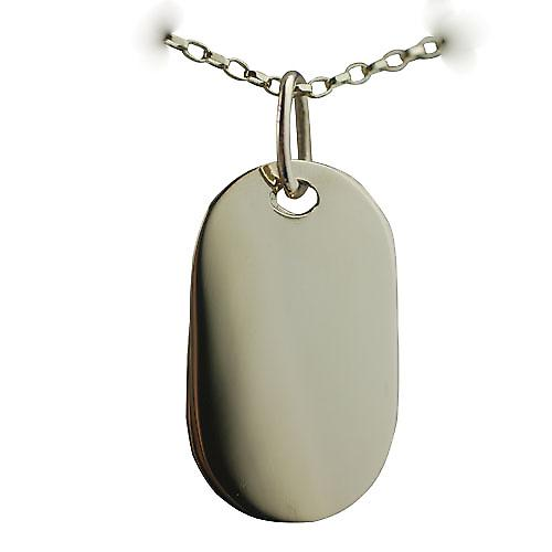 Two 9ct Gold 29x17mm plain rectangular ID Tags or Dog Tags with a belcher Chain 16 inches Only Suitable for Children
