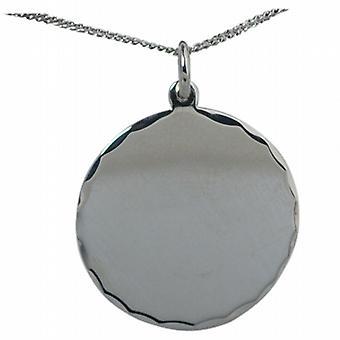 Zilveren 26mm ronde diamant geslepen rand Disc met een Curb chain