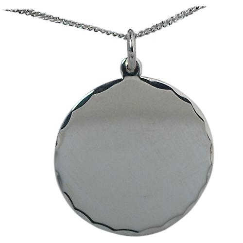 Silver 26mm round diamond cut edge Disc with a Curb chain