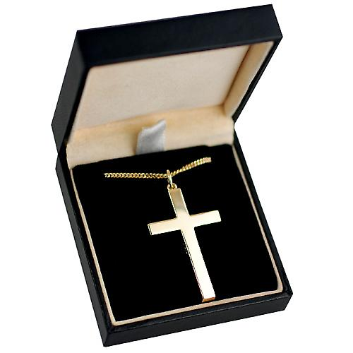 9ct yellow gold 40x25mm Hand engraved Solid Block cross with a strong bright cut curb chain Only Suitable for youths