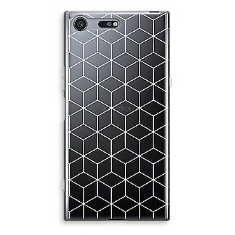 Sony Xperia XZ Premium Transparent Case (Soft) - Cubes black and white