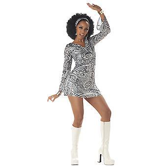 Disco Diva 1960-talet 70-talet Silver Retro Foxy Lady Dancing Queen Womens kostym