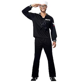 Sailor svart marin marinblå militär sjöman Uniform USS Enterprise Mens kostym
