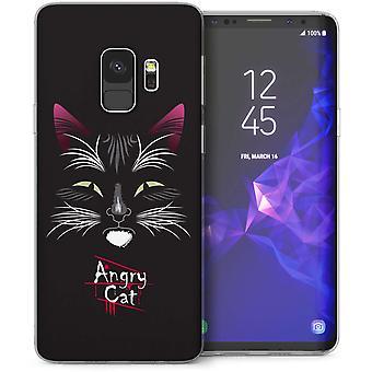 Samsung Galaxy S9 gato enojado de la historieta del Gel TPU caso – negro