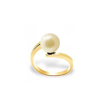 Anillo de perla de cultivo de agua dulce de oro y amarillo oro 375/1000