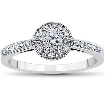 1/2CT Vintae Diamond Halo Engagement Ring 10K White Gold