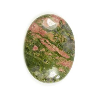 1 x Green/Orange Unakite Flat Back 30 x 40mm Oval 7.5mm Thick Cabochon CA16660-8