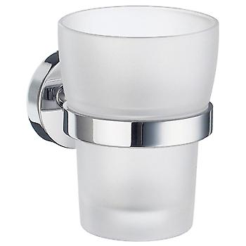 Home Holder With Frosted Glass Tumbler - Polished Chrome HK343