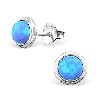 Round - 925 Sterling Silver Opal and Semi Precious Ear Studs - W23625X