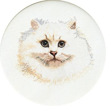White Persian Cat On Linen Counted Cross Stitch Kit-16.5