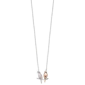 Elements Silver Double Parakeet Necklace - Silver/Rose Gold