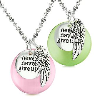 Aile d'ange inspiration Never Give Up amour Couple amulettes chats simulé vert rose oeil colliers