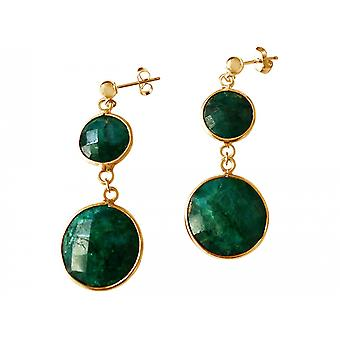 Gemshine - ladies - earrings - 925 Silver - gilded green - Emerald - - faceted - 4 cm