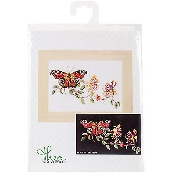 Butterfly-Honeysuckle On Aida Counted Cross Stitch Kit-11.5