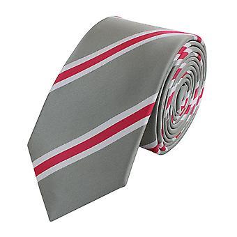 Schlips Krawatte Krawatten Binder Schmal 6cm Grau/Rosa gestreift Fabio Farini