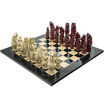 The Berkeley Chess Reynard the Fox Black Cardinal Grand Chess Set