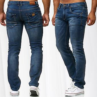 Men's Jeans Slim Fit Pants Denim Stonewashed Blue Jeans Trousers Washed