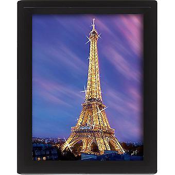 Paris, Eiffelturm in der Dämmerung 3-D Lentikular-Poster im Rahmen Kleinformat