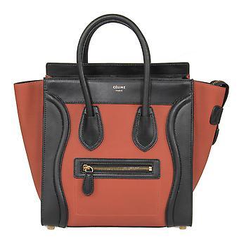 Celine Micro Luggage Leather Bag   Tri-Color Black w/ Gold Hardware