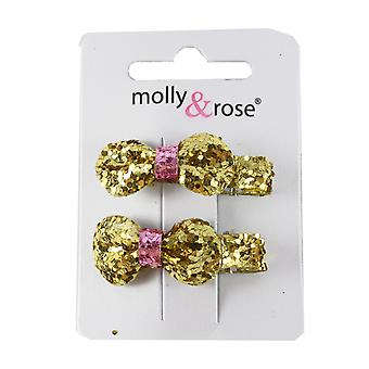 Molly & Rose Small Glitter Hair Bow Clasp 2 PK Gold