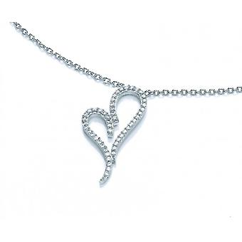 Cavendish French Silver and Cubic Zirconia Heart Necklace