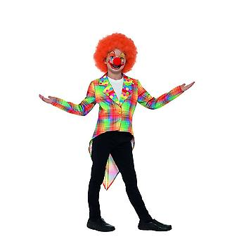 Neón Tartan payaso circo frac, disfraces niños, mediana edad 7-9