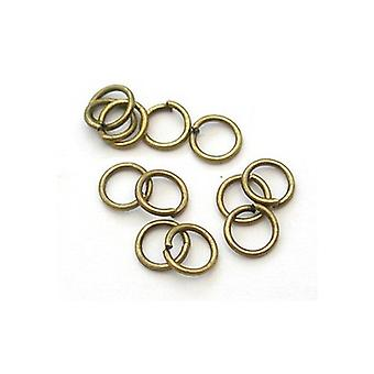Packet 350+ Antique Bronze Plated Iron Round Open Jump Rings 0.7 x 8mm HA11355