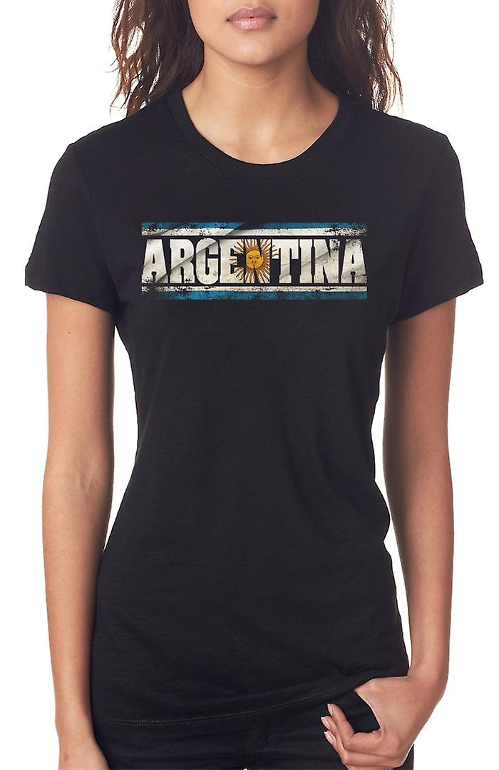 Argentinian Argentina Flag - Words Ladies T Shirt