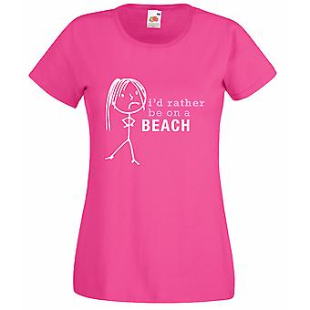 Ladies I'd Rather Be On The Beach Hot Pink Tshirt