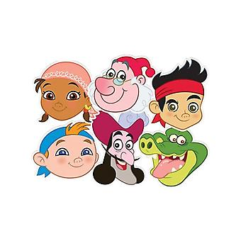 Jake and The Neverland Pirates Card Face Masks Set of 6 (Jake, Cubby, Izzy, Smee, Hook and Croc)