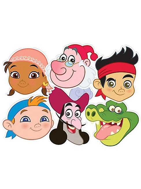 Jake und die Neverland Piraten-Karte Gesicht Masken Set 6 (Jake, Cubby, Izzy, Smee, Haken und Croc)