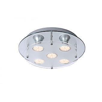 Lucide Ready-LED Modern Round Steel Chrome Flush Ceiling Light