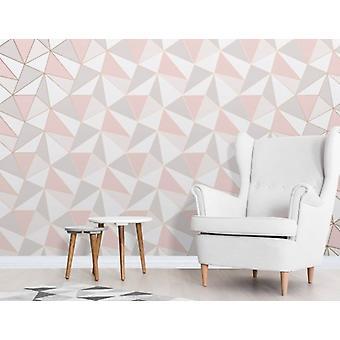 Elegant Apex Geo Sidewall Rose Gold Wallpaper Wall Decoration 0.52m x 10.05m